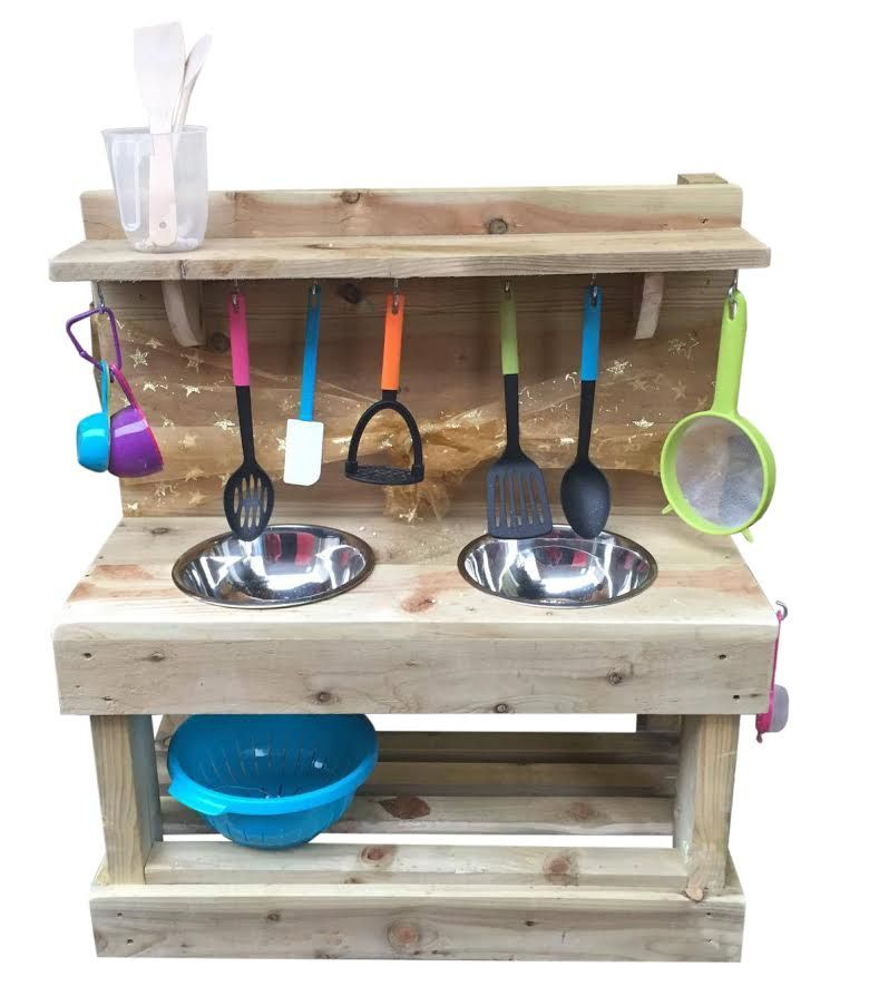 Classic Double Wooden Dirt Mud Kitchen Landscapes 4 Learning