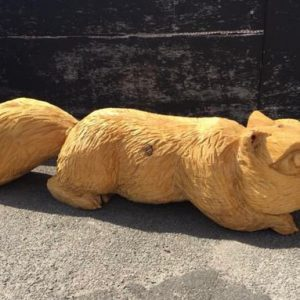 chainsaw carved squirrel bench